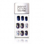 Dashing Diva Magic Press Premium Series #03 Royal Blue Square Full Cover Gel Nail Tips, Easy to attach without Glue
