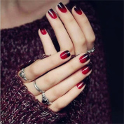 JINDIN 24 sheet False Nails Short Design Manicure Art Tips for Female Black Red
