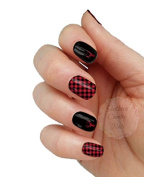 Red and Black Deer Full Nail Decals Nail Wraps Set of 18