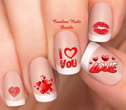Valentine's Day Red Hearts I love U Nail Art Decals