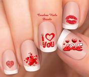 Valentine's Day Red Hearts I love U Nail Art Decals