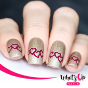 Whats Up Nails - Heart Chain Nail Stencils Stickers Vinyls for Nail Art Design