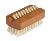 Bürstenhaus Redecker Natural Pig Bristle Travel Nailbrush with Oiled Pearwood Handle, 6cm by 2.9cm