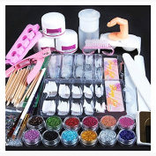 iMeshbean 21 IN 1 Nail Art Set Acrylic Nail Powder Glitter Brush Fake Finger Pump Design Nail Art Tools Kit Set for Professional and Home Use USA