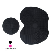 Makeup Brush Cleaning Mat, Codream Makeup Brush Cleaner Pad Set of 2 Cosmetic Makeup Brush Cleaner Washing Tool with Suction Cup (Black) Valentine's Gifts for women