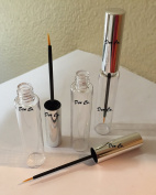 3 Empty Plastic 7.5 ml Clear Eyeliner Vials Silver Handle Eye Liner Brush and Faux Glass Tube