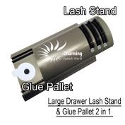 Durable U Curved Tile Large Volume Eyelash Extension Stand with Glue Pallet Drawer