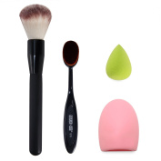 BTYMS Makeup Brush, Oval Cosmetic Cream Powder Blush Makeup Tool, Glove MakeUp Washing Cleaning Brush Scrubber Board and Light Green Mini Size Makeup Sponge Puff