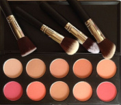 Meritina 4 PCS Face Powder Brush +10 Colours Makeup Cosmetic Blush Blusher Powder