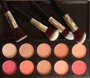 Meritina 4 PCS Face Powder Brush +10 Colours Makeup Cosmetic Blush Blusher Powder