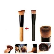 XX Shop 2pcs Premium Brushes - Black Professional Face Concave Liquid Foundation Makeup Brush + Cosmetic Makeup Foundation Powder Brush Makeup Tool