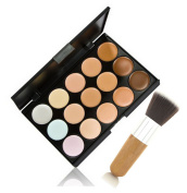 Meritina15 Colour Makeup Face Cream Contour Camouflage Concealer Palette+ Wood Powder Brush