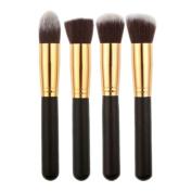 Leoy88 4pcs Flat Foundation Brush Single Makeup Cosmetic Brush Black