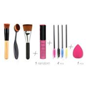 U-beauty® 3Pcs Cosmetic Makeup Face Powder Blusher Toothbrush Curve Foundation Brush-Beauty Cosmetics Tools +1Pcs Lip Gloss/Lip Brillant+ Cut Puff +Free Eyelash Brush Hot New