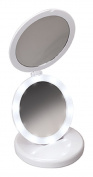 Harry D Koenig Tri-Fold LED Round Mirror Diameter, White, 17cm