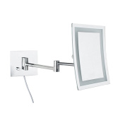 ALHAKIN Makeup Mirror Square Wall Mounted Mirror Single Side with 3x Magnification,LED Light, Chrome Finish