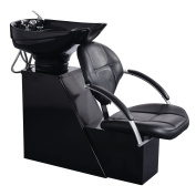 Giantex Salon Backwash Shampoo Bowl Sink Barber Chair Hair Spa Equipment Station Black