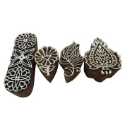 Decorative Wooden Block Set of 4 Pcs Antique Style Butterfly Floral Peacock Feather Shape Brown Home Décor Textile Printed Fabric Handmade Gift Item