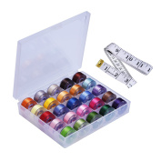 Outus Bobbins and Colourful Sewing Thread with Case Organiser and Tape Measure for Brother, Janome, Kenmore and Singer