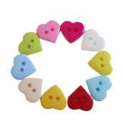 BleuMoo 100 x Plastic Heart Two-hole Button Buttons Sewing Random Colour
