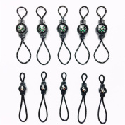 10PC Compass Zipper Pull Fits for Sport Outdoor Travel Backpack Shoulder Bag Key Holder zipper Fixer