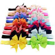 20pcs/lot 7.6cm Cute Kids Baby Girls headband Toddler Infant Chiffon Bowknot Headbands Solid Colour Hair Bows Hair Band Accessories Christmas Gift