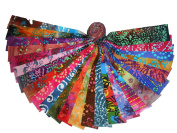 50 6.4cm Beautiful BATIKS Jelly Rolls 50 DIFFERENT colours - 1 OF EACH- WOF