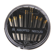 Overfeel 30pcs Assorted Gold Eye Hand Sewing Needles Embroidery Mending Sew Case