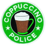 COPPUCCINO POLICE COLLECTOR PATCH, Size 10cm - 0.2cm Circle, Funny Costume Police Sheriff Security Shield Logo Jacket Uniform Patch Military Patch - Sold by Uniform World