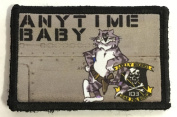 F14 Tomcat Anytime BabyMorale Patch. Perfect for your Tactical Military Army Gear, Backpack, Operator Baseball Cap, Plate Carrier or Vest. 5.1cm x 7.6cm Hook Patch. Made in the USA