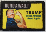 Trump Build A Wall Morale Patch. Perfect for your Tactical Military Army Gear, Backpack, Operator Baseball Cap, Plate Carrier or Vest. 5.1cm x 7.6cm Hook and Loop Patch. Made in the USA