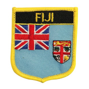 Fiji (UK) Flag Emblem Badge Crest Embroidered Patch Iron-On Sew-On for backpacks, bags, and rugby equipment