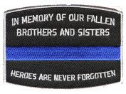 IN MEMORY OF OUR FALLEN BLUE LINE POLICE PATCH - Colour - Veteran Owned Business.