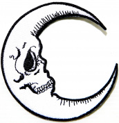 Skull Crescent Moon Halloween Skeleton Logo Symbol Jacket T-shirt Patch Sew Iron on Embroidered Sign Badge Costume Clothing