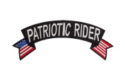 PATRIOTIC RIDER Black w/ White with Flags Top Rocker Sew On Patch for Motorcycle Rider or Bikers Veteran Vest