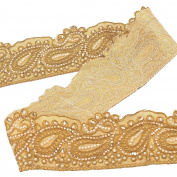 BridalMary Hand Beaded Prom Dress Border 9 YD Trim Golden Craft Sewing Lace Paisley