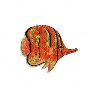 Anglefish Fish Orange DIY Embroidered Sew Iron on Patch