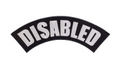 DISABLED Black w/ White Top Rocker Iron On Patch for Motorcycle Rider or Bikers Veteran Vest
