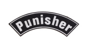 PUNISHER Black w/ White Top Rocker Iron On Patch for Motorcycle Rider or Bikers Vest