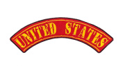 UNITED STATES Red w/ Yellow Top Rocker Iron On Patch for Motorcycle Rider or Bikers Veteran Vest