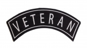 VETERAN Black w/ White Top Rocker Iron On Patch for Motorcycle Rider or Bikers Veteran Vest