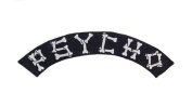 PSYCHO Black w/ White Top Rocker Iron On Patch for Motorcycle Rider or Bikers Vest