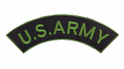 US ARMY Black w/ Dark Green Top Rocker Iron On Patch for Motorcycle Rider or Bikers Veteran Vest