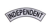 INDEPENDENT White w/ Black Top Rocker Iron On Patch for Motorcycle Rider or Bikers Vest