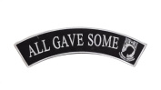 ALL GAVE SOME Black w/ Grey with POW MIA Top Rocker Iron On Patch for Motorcycle Rider or Bikers Veteran Vest