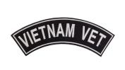 VIETNAM VET Black w/ White Top Rocker Iron On Patch for Motorcycle Rider or Bikers Veteran Vest