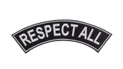 RESPECT ALL Black w/ White Top Rocker Iron On Patch for Motorcycle Rider or Bikers Vest