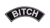 BITCH Black w/ White Top Rocker Iron On Patch for Motorcycle Rider or Bikers Vest