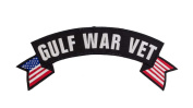 GULF WAR VET Black w/ White with Flags Top Rocker Iron On Patch for Motorcycle Rider or Bikers Veteran Vest