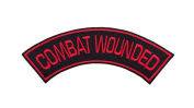 COMBAT WOUNDED Black w/ Red Top Rocker Iron On Patch for Motorcycle Rider or Bikers Veteran Vest
